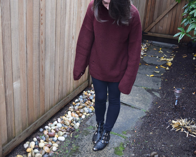 burgundy sweater, black jeans, oversize sweater