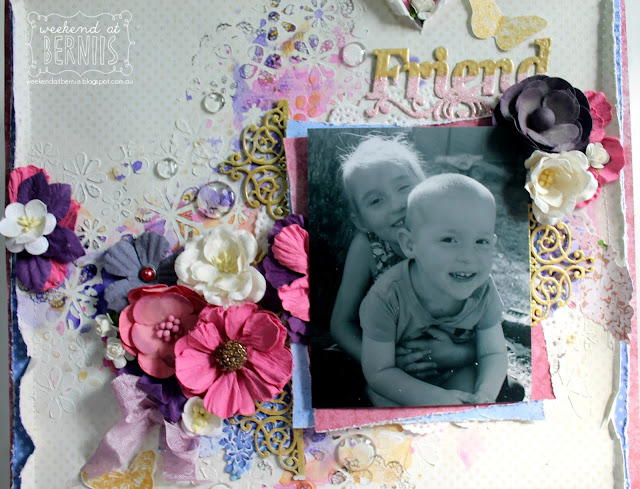 Friend layout by Bernii Miller for BoBunny using the Secret Garden collection.