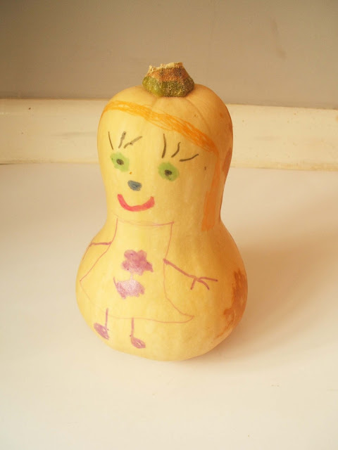 child's drawing on a root vegetable