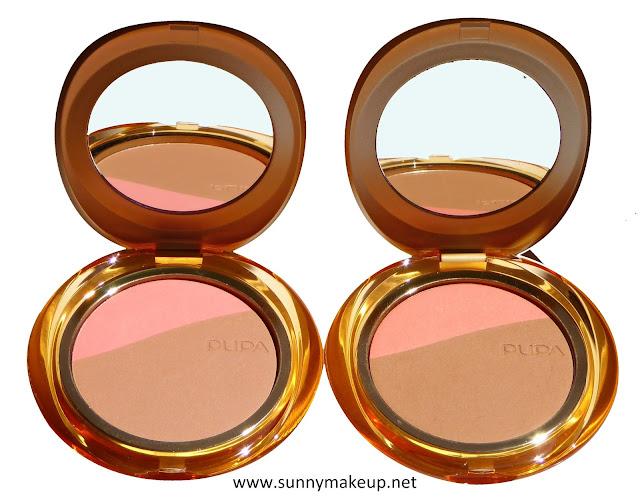 Pupa - Blush & Bronze. Da sinistra verso destra i Blush & Terra Compatti nelle colorazioni 001 – Pink Sand, 002 – Apricot Gold.