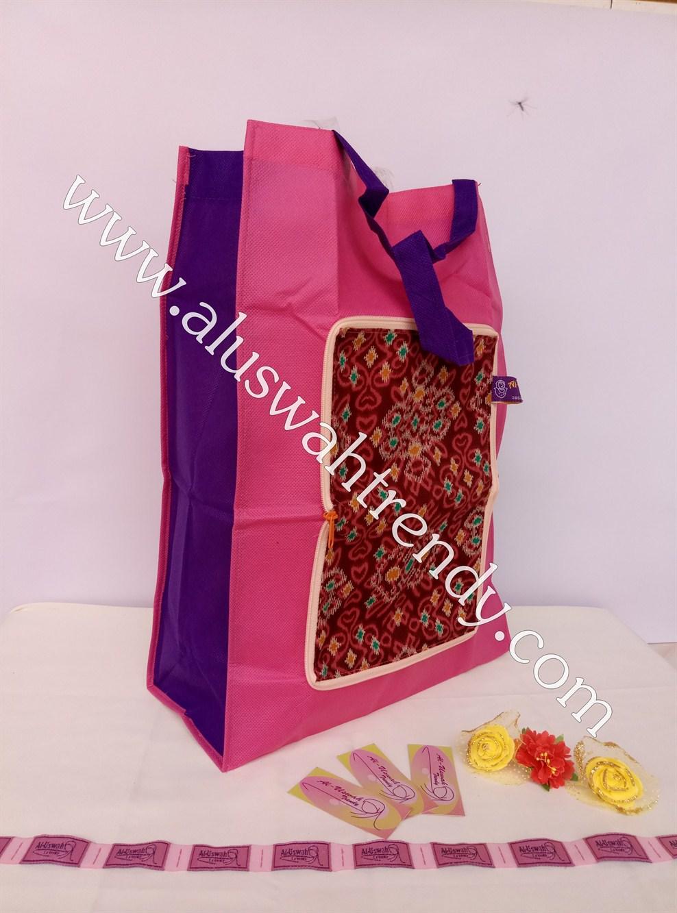 Tas Belanja Lipat Pink Motif Songket 03