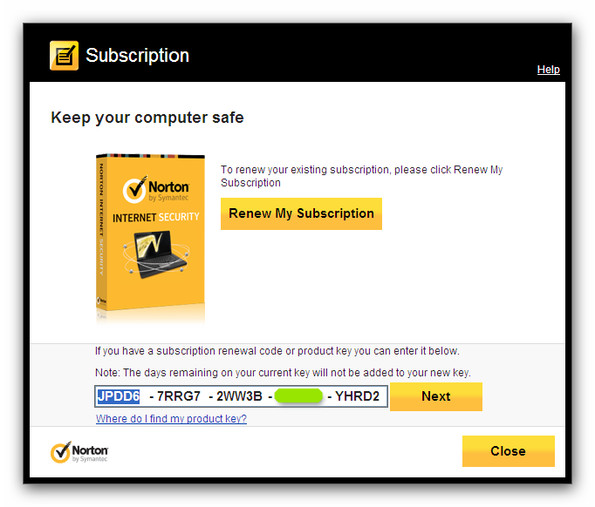norton internet security code 2014