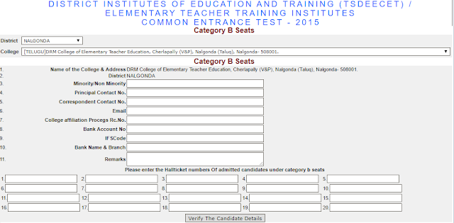 TS Deecet,B Category D.Ed Seats,web counselling