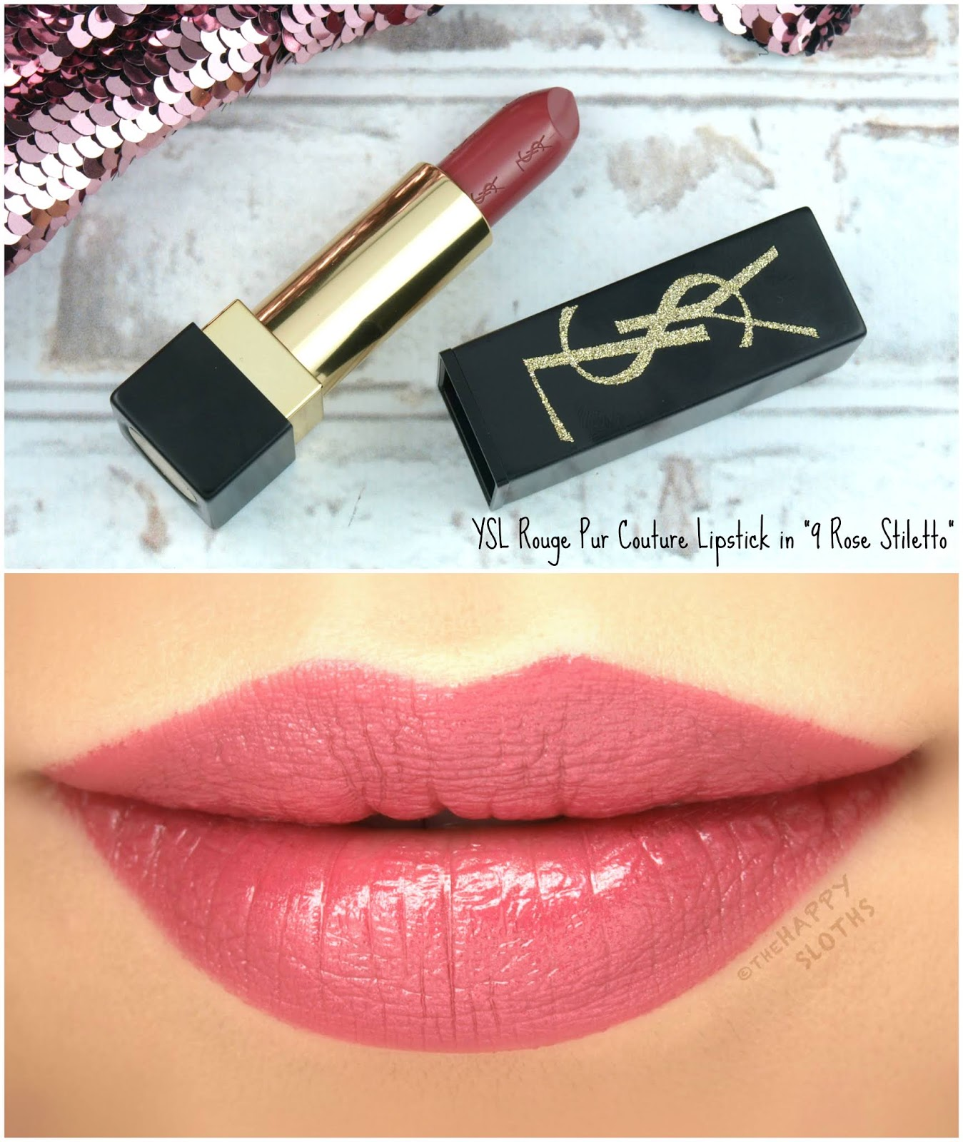 "Yves Saint Laurent YSL | Holiday 2018 Gold Attraction Edition Rouge Pur Couture Lipstick in ""9 Rose Stiletto"": Review and Swatches"