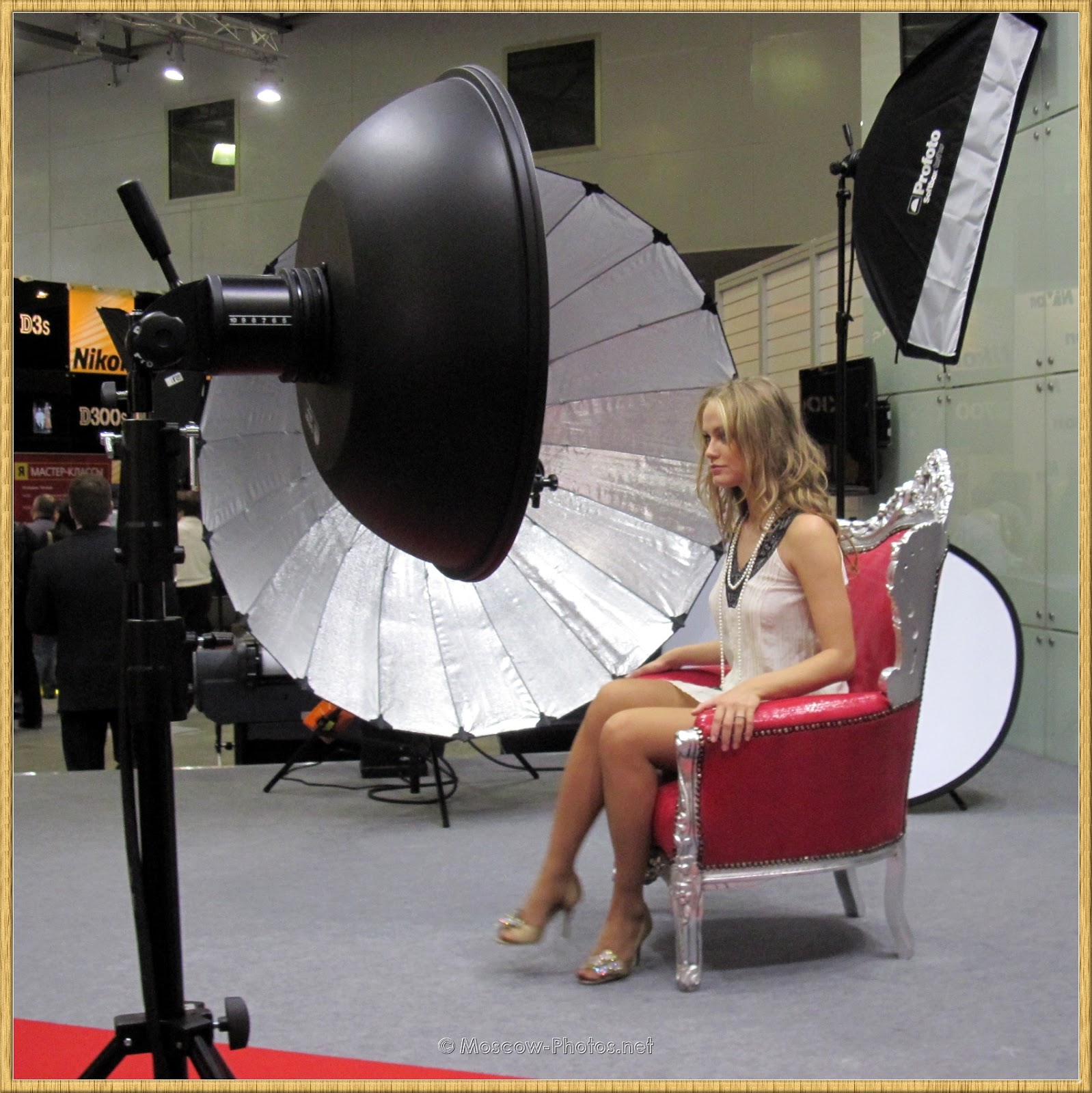 Moscow Blonde Fashion Model Posing In A Chair