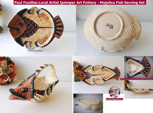 Paul Fouillen Local Artist Quimper Art Pottery. Mid Century Large Majolica Fish Platter, Plate(s), Gravy Boat Sauce Dish Matching Set