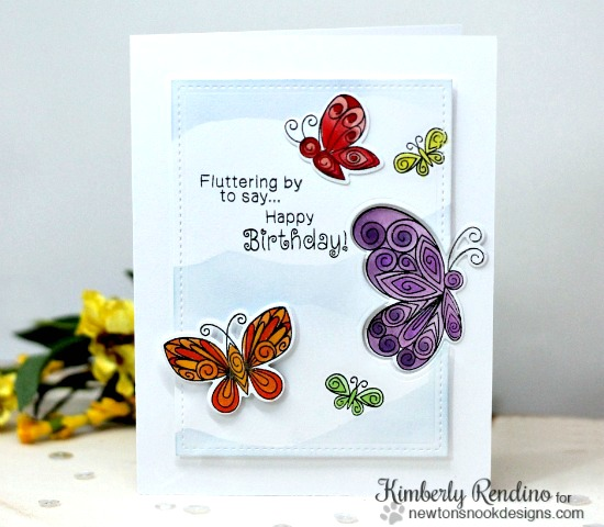 Happy Birthday Butterfly Card by Kimberly Rendino | Beautiful Wings Stamp set by Newton's Nook Designs #newtonsnook
