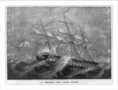 clipper ship caught in storm at Cape Horn