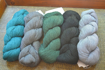 A collection of lace weight yarn from Knit Picks