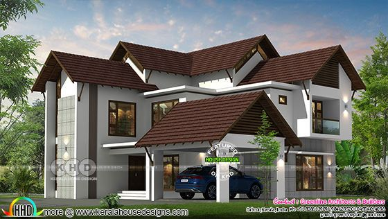 grape colored sloping roof house plan