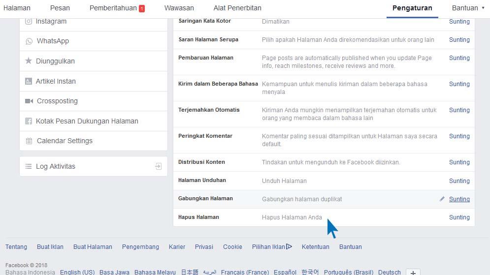 Mudah menghapus Fan Page Facebook Terbaru