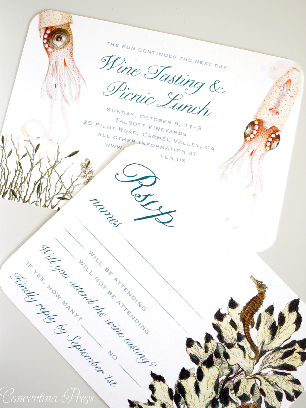 Vow Renewal RSVP and Insert Card - Monterey Bay Aquarium