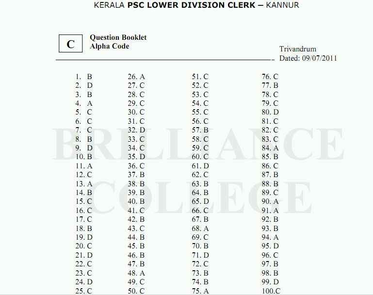 Kerala PSC LDC Answer Key Kannur 2011, Solutions
