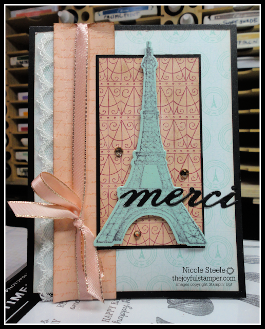 thank you/merci card using stampin' up!'s parisian beauty and parisian blossoms suite | by Nicole Steele The Joyful Stamper