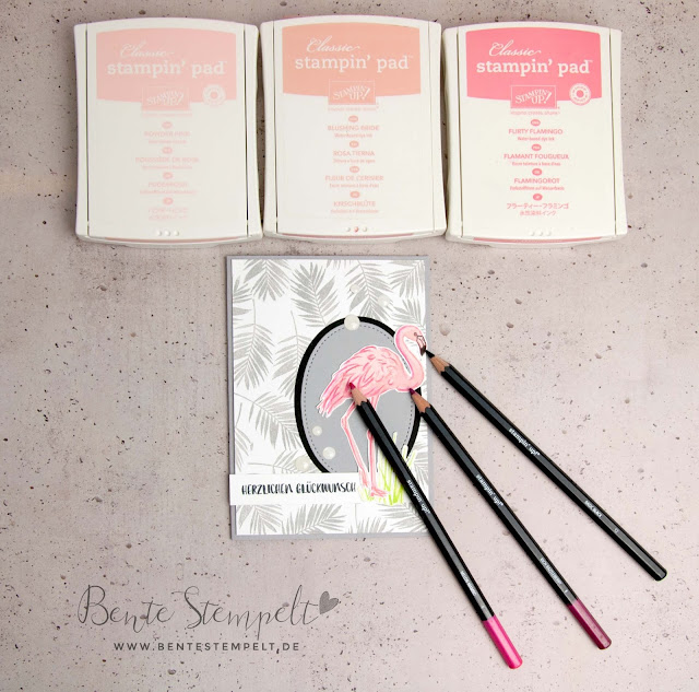 Stampin' Up! Flamingo-Fantasie Blätter Hintergrund stempeln selber machen Leaves Fabulous Flamingo Flamingoliebe Aquarellstifte Watercolor Pencils Contouring