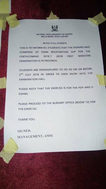 NOUN Exam Registration Slip Stamping and signing 2018