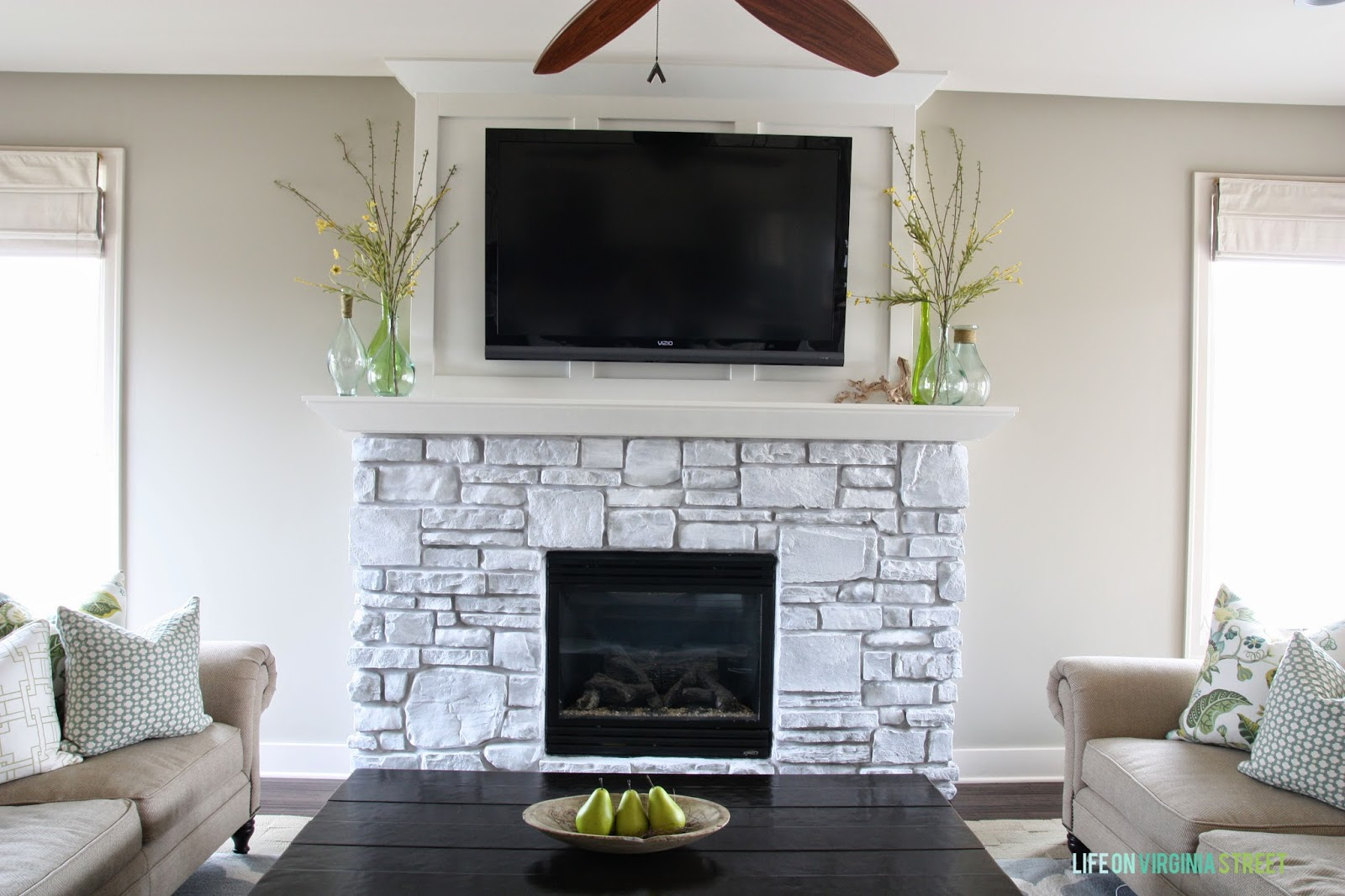 Dining Room Pendant Light White Washed Stone Fireplace Life On Virginia Street