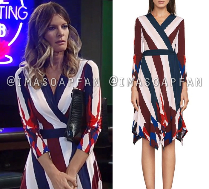 Nina Reeves, Michelle Stafford, Multicolored Striped Wrap Dress, General Hospital, GH