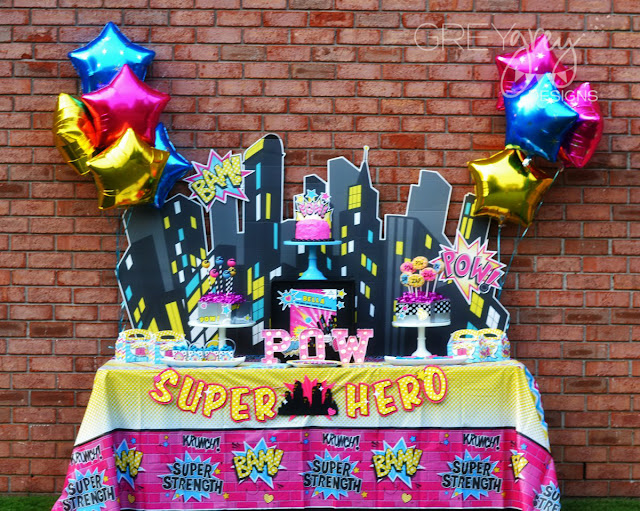 #superhero #girl #birthdayparty #pinksuperhero #superheroparty