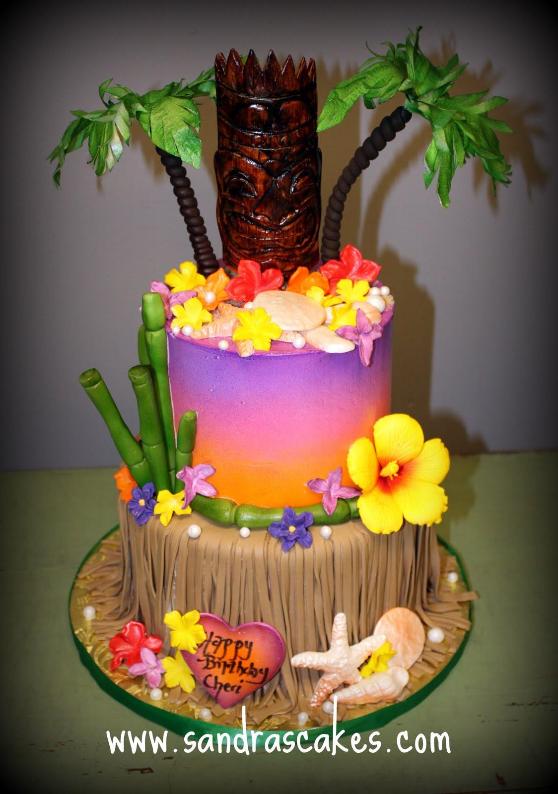 View Full Size  More Sandra S Cakes Luau Birthday Cake