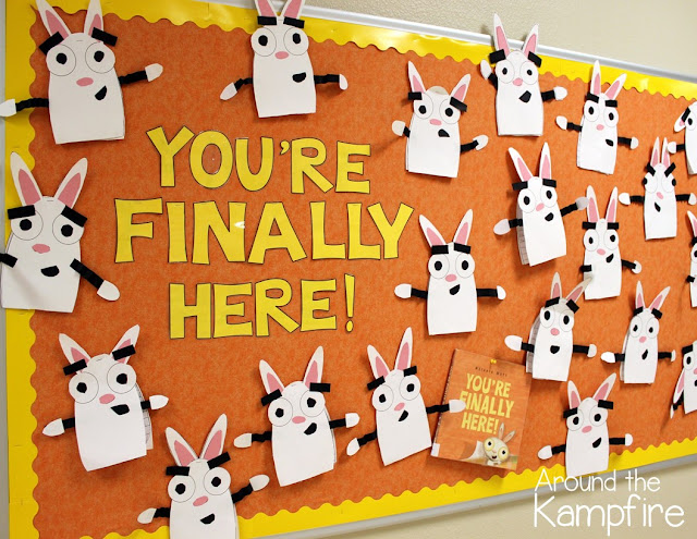 Back to school activities and bulletin board idea for the first day with the most perfect book ever, You're Finally Here! We made this character craft to set goals for the year My kids were in heaven!
