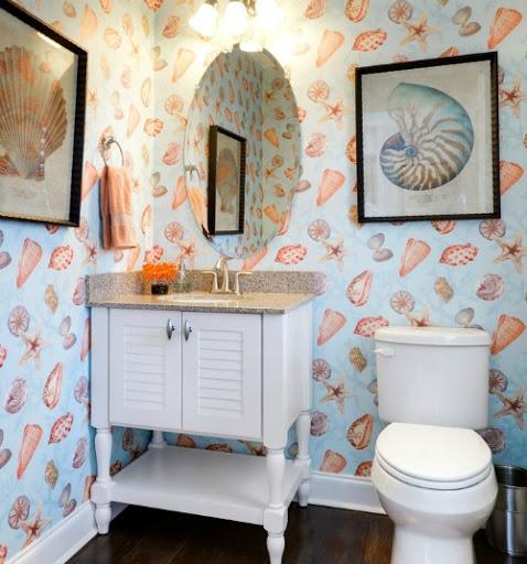Seashell Coastal Wallpaper Bathroom