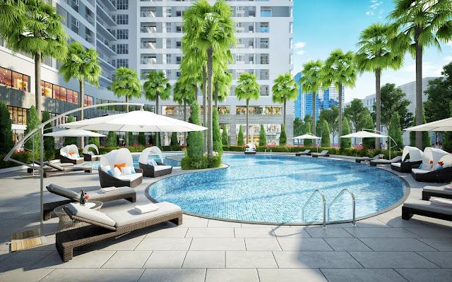 Bể bơi ngoài trời với không gian xanh, thiết kế đẹp mắt