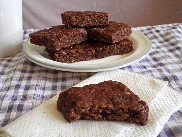 cocoa banana bars on a plate with gingham