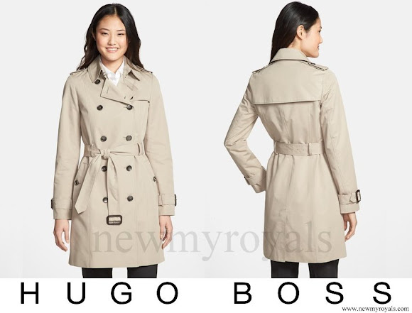 Queen Letizia wore HUGO BOSS Cascadia Double Breasted Trench Coat