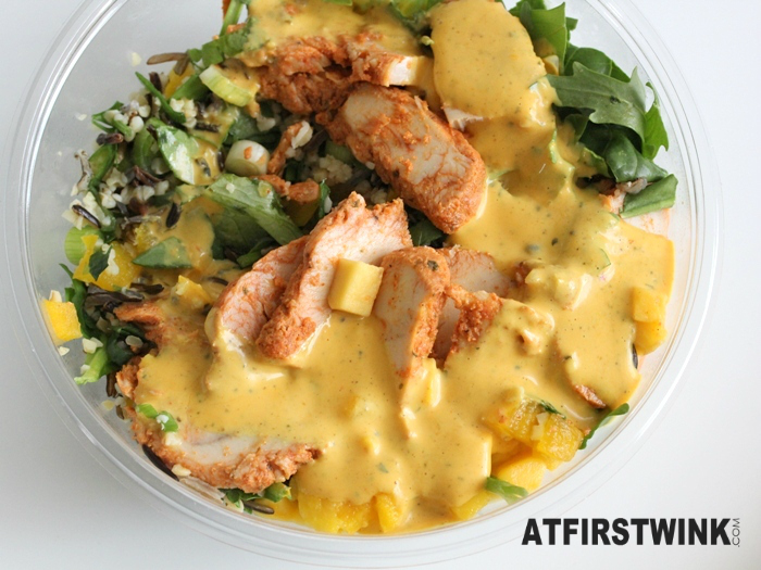 AH Chicken mango salad with coconut lime dressing | Salade kip mango met kokos-limoendressing (added dressing on top)