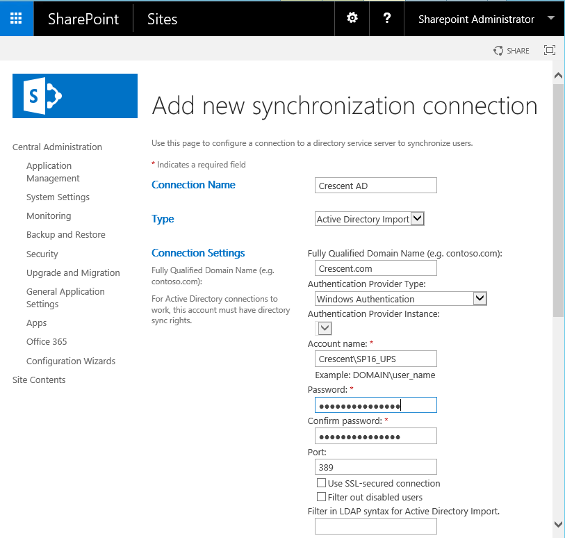 Create User Profile Synchronization Connection in SharePoint 2016