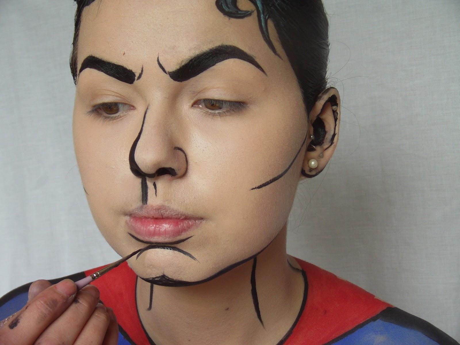 crown brush superman pop art tutorial by make up artist jade hughes. Black Bedroom Furniture Sets. Home Design Ideas