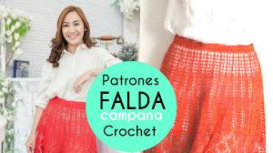 Patrones de Falda Campana en Punto Piñas para tejer con ganchillo