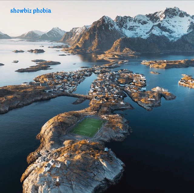 beautiful football pitch in the world - Lofoten Islands, Norway