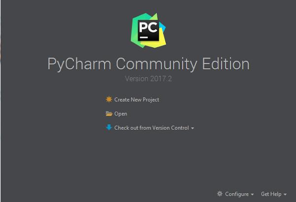 Tela inicial da IDE PyCharm