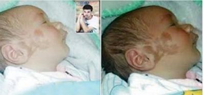 """طفل ولد وكنتب على وجهه اسم """"علاء """" لن تصدق السر وراء ذلك ؟"""
