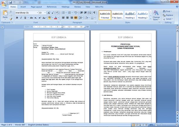 Contoh Proposal Permohonan Dana dan RAB Rehab Gedung Sekolah Madrasah