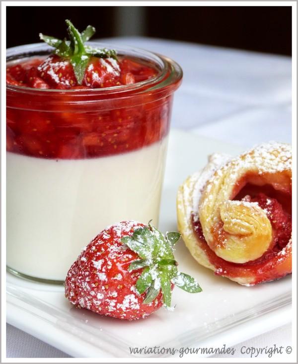 Variations gourmandes panna cotta au mascarpone et cardamome tartare de fraises et rose en - Recette panna cotta mascarpone ...