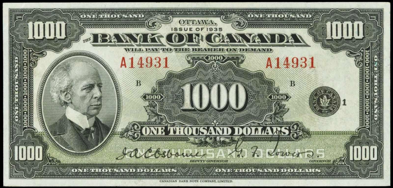 Bank of Canada banknotes 1935 1000 Dollars note