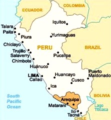 Dibujo del departamento de Arequipa dentro del Mapa del Perú
