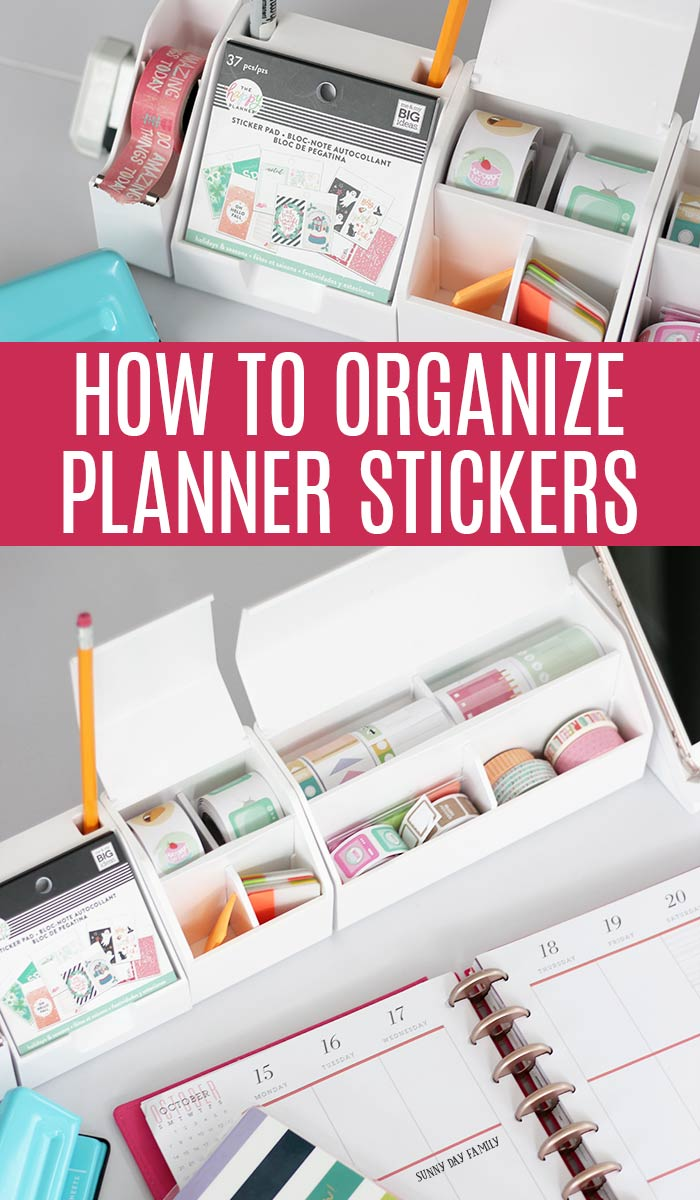 Organize all your planner stickers with this flexible desk organizer system! Organize washi tape, sticker rolls, planner sticker books and more with this flexible and customizable desk organizer. #ad #planner #planners #organize #happyplanner