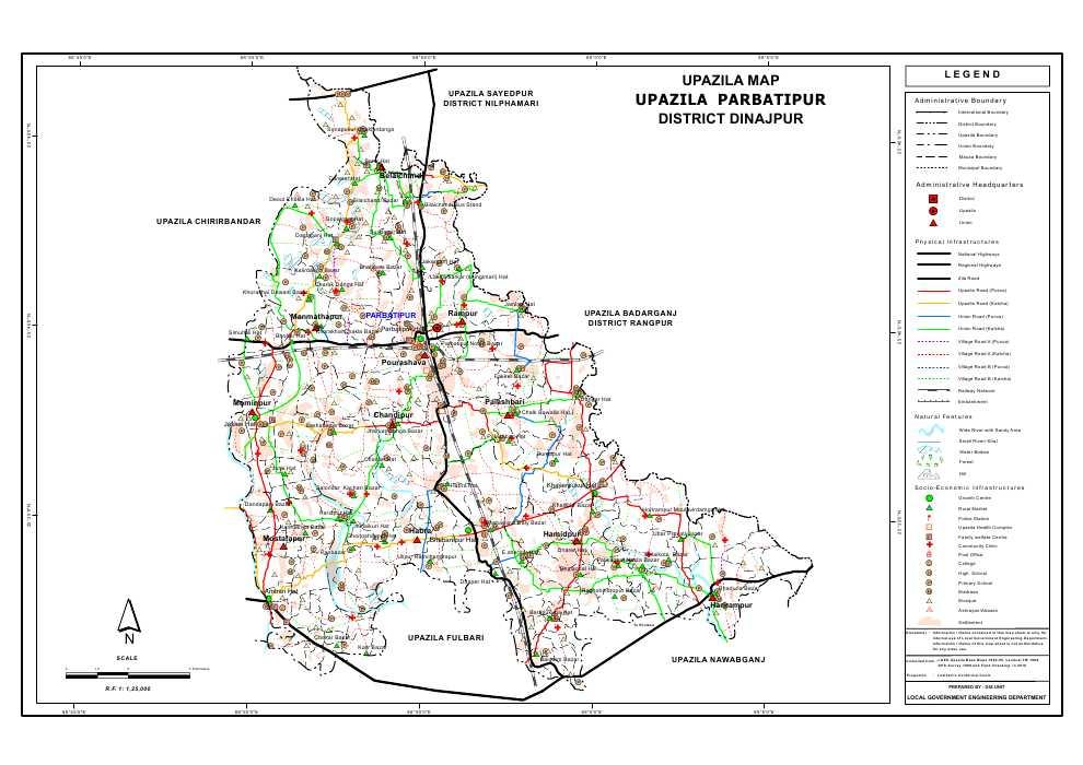 Parbatipur Upazila Map Dinajpur District Bangladesh