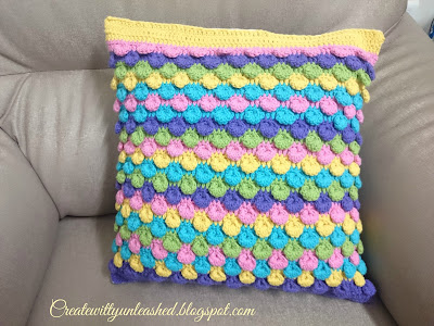 Crochet Bobble shell stitch cushion