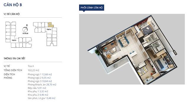Thiết kế căn hộ hạng b Chung cư 69 Vũ Trọng Phụng