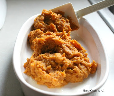 Sweet potato mixture in casserole dish