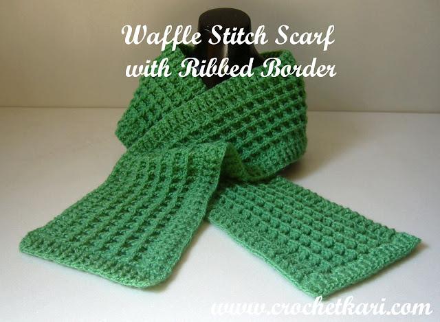 Crochet waffle stitch scarf pattern