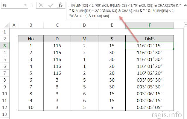 Modifikasi Nilai Derajat, Menit dan Detik pada MS Excel