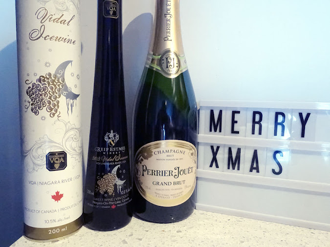 Wines for Christmas 2018 - Reif Estate Vidal Icewine and Perrier-Jouët Grand Brut Champagne