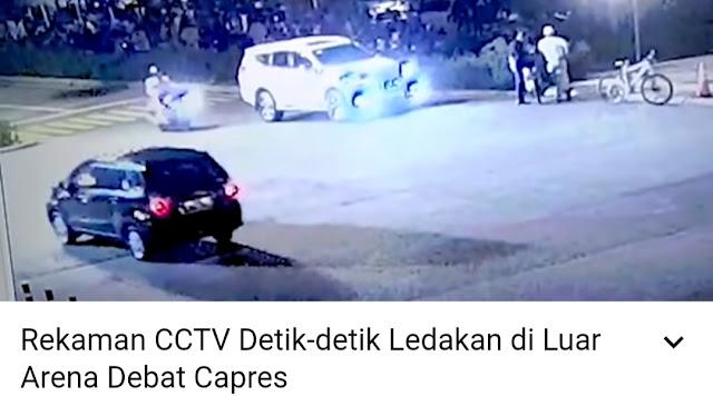 CCTV Detik-detik Ledakan Petasan di Dekat Loaksi Debat Capres,  Pelaku Diburu Polisi