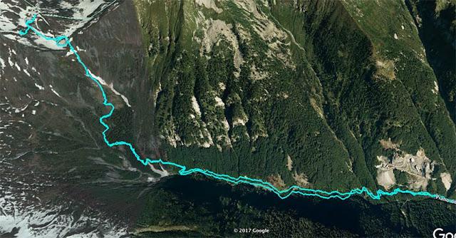 L'itinerario sulla mappa Google Earth